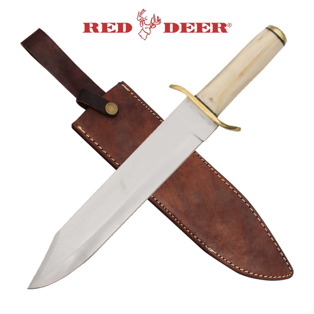 Red Deer Bowie Knife Bone Handle, , Panther Trading Company- Panther Wholesale
