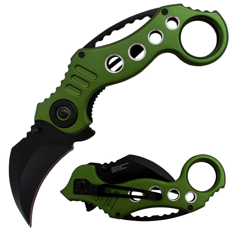Tiger-USA Spring Assisted Karambit Knife - Dark Green
