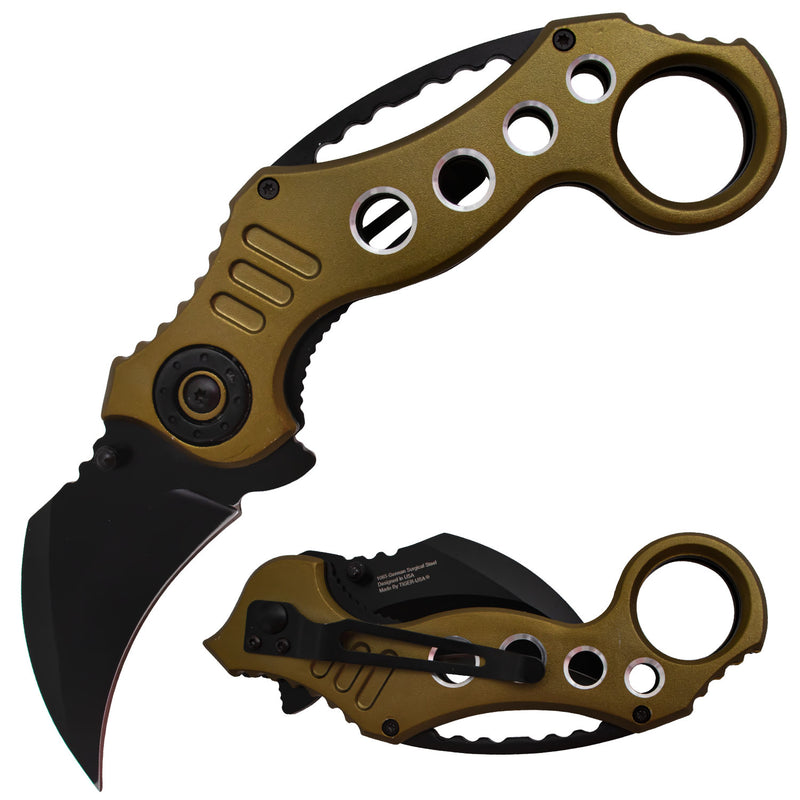 Tiger-USA Spring Assisted Karambit Knife - Bronze