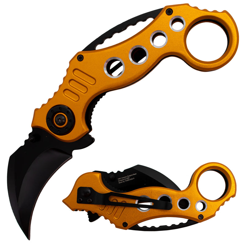 Tiger-USA Spring Assisted Karambit Knife - Orange
