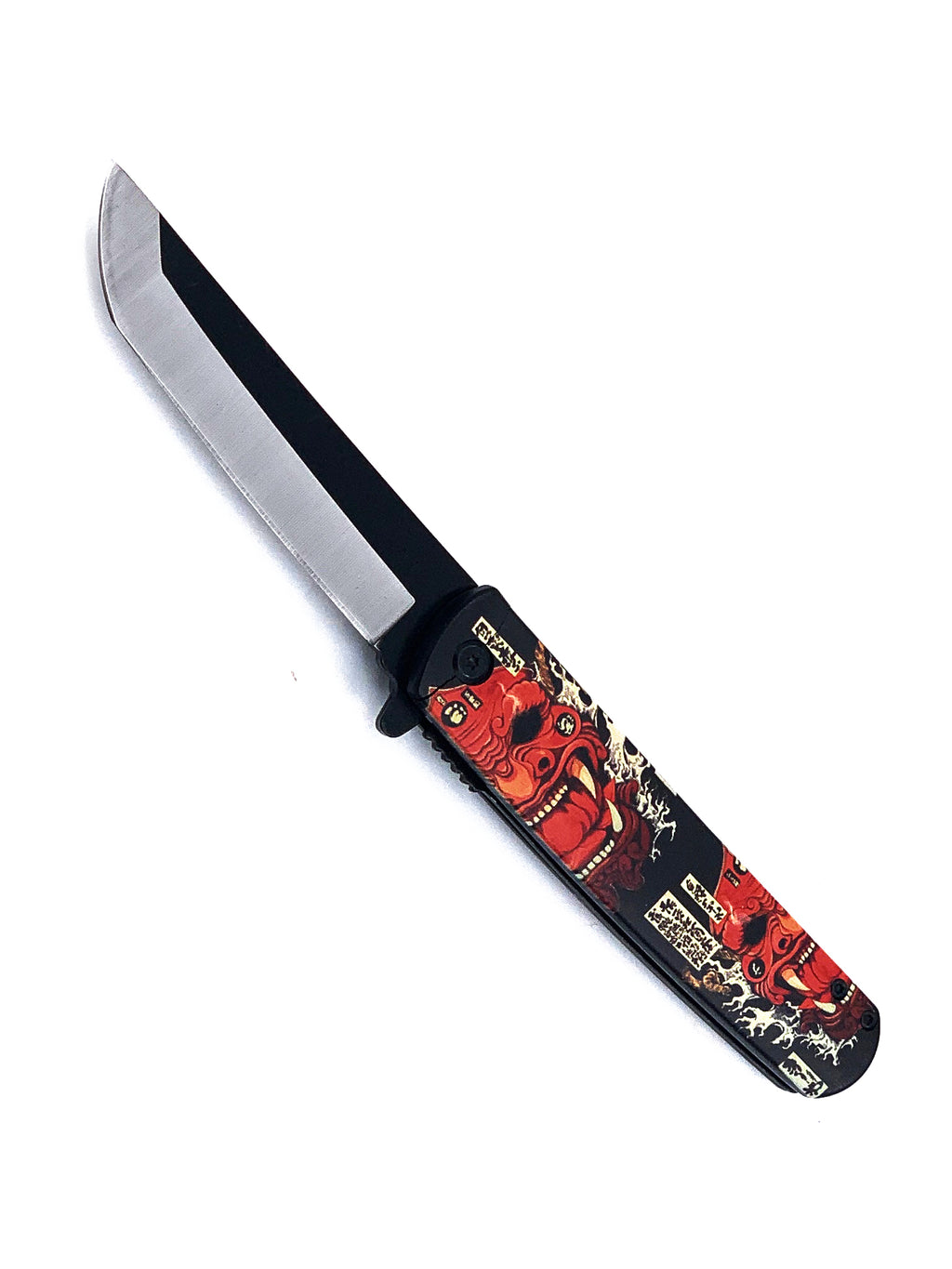 Fire Mask Samurai Spring Assisted Pocket Knife with Two Tone Rounded Tanto Blade