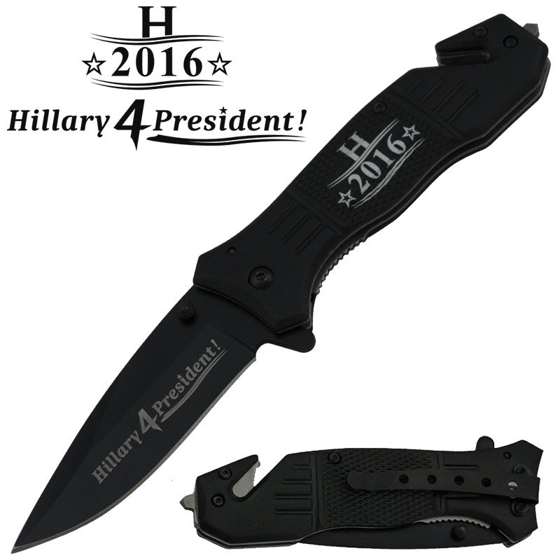 Hillary 4 President! Trigger Action Liner Lock Drop Point Blade Knife, , Panther Trading Company- Panther Wholesale
