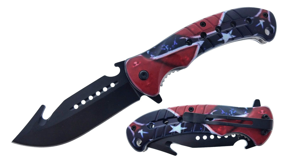 Confederate Pride Spring Assisted Pocket Knife with Gut Hook Black Blade with Bottle Opener