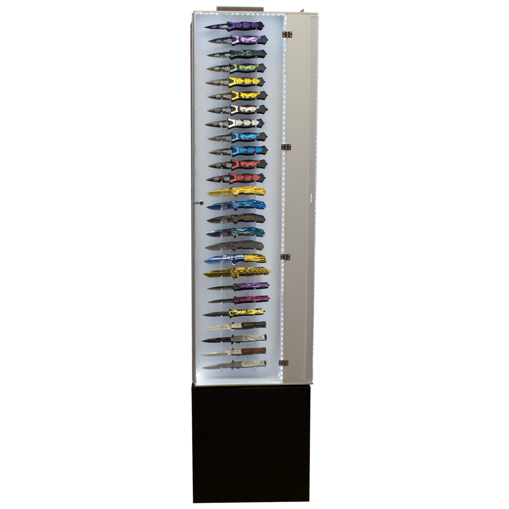 Tall Revolving Light-Up 104 Knife Display Case, , Panther Trading Company- Panther Wholesale