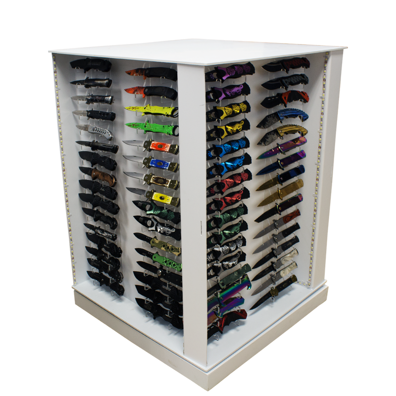 Revolving Light-Up 128 Knife Display Case, , Panther Trading Company- Panther Wholesale