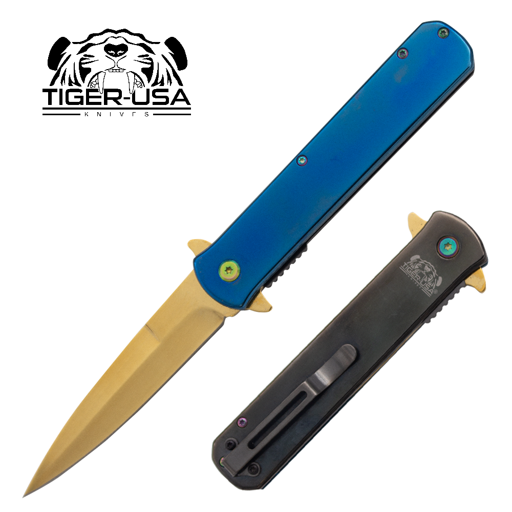 Tiger USA®Metallic Folding knife w/clip (Blue, Black and Gold)