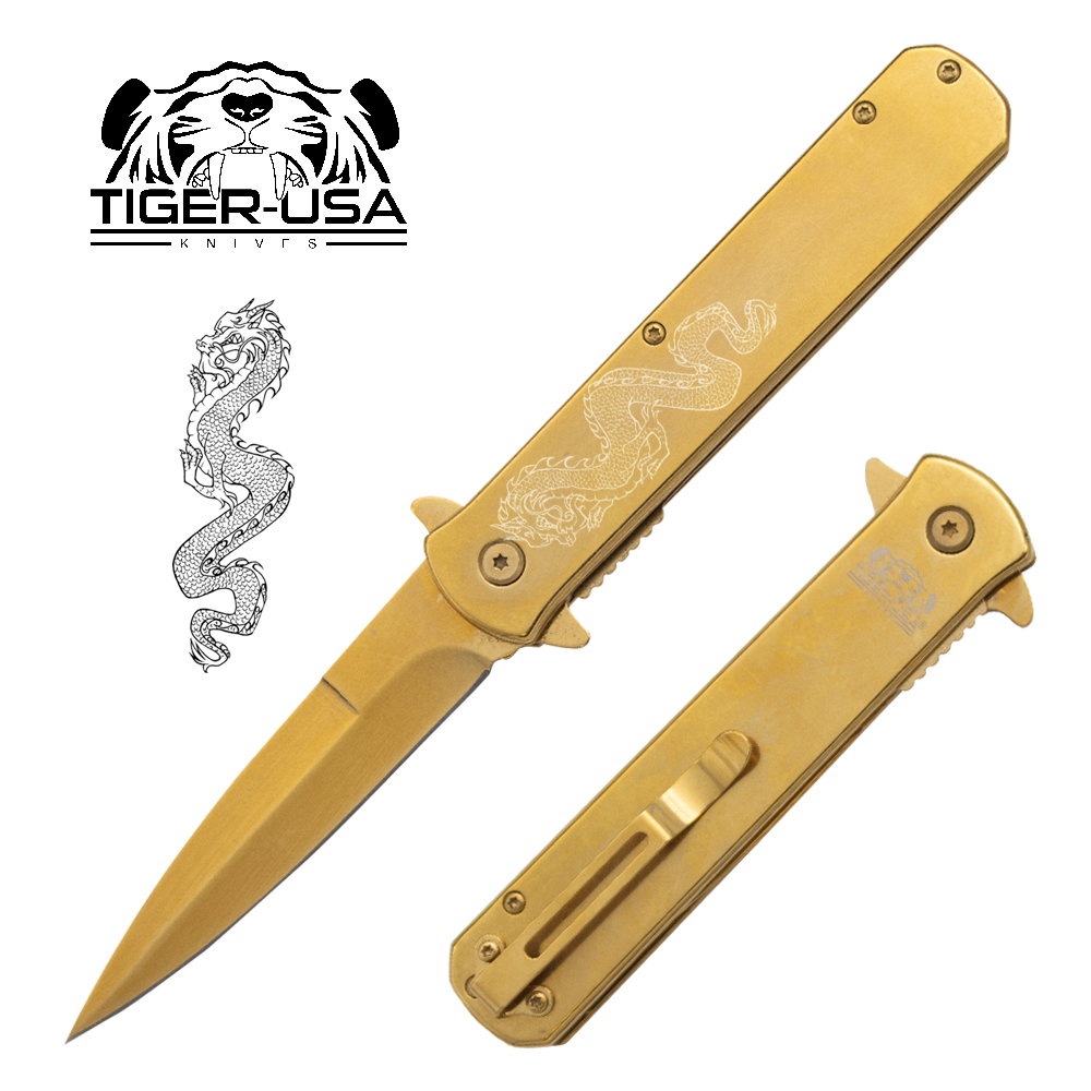 Tiger USA®Metallic DRAGON Folding knife w/clip (Gold Plated)