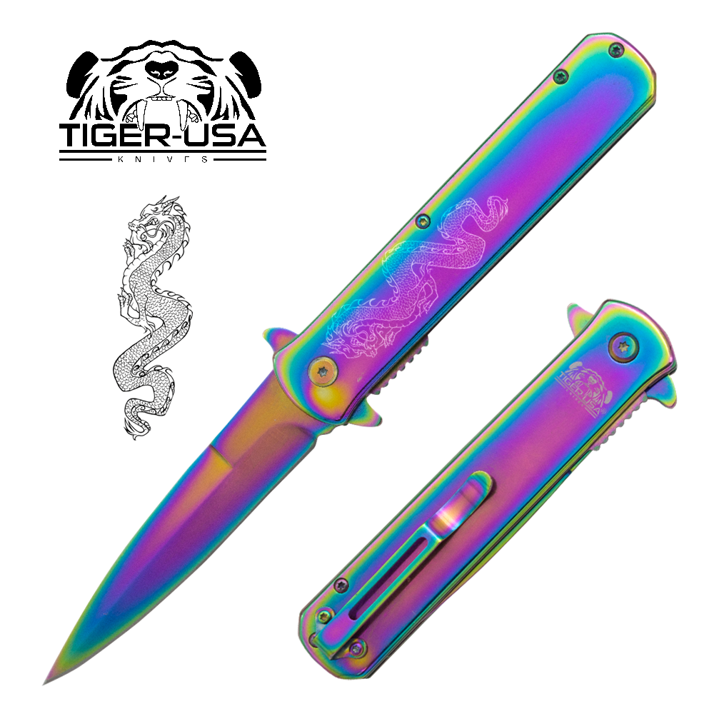 Tiger USA®Metallic DRAGON Folding knife w/clip (Rainbow Oil Slick)
