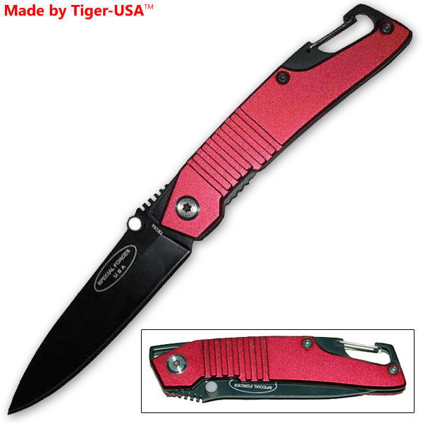 6.5 Inch Special Forces Folding Knife W/ Clip - Red, , Panther Trading Company- Panther Wholesale