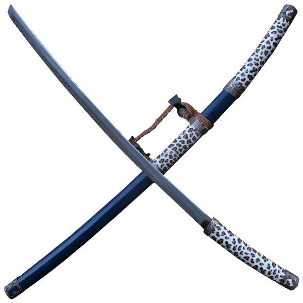 Leopard Print Katana Sword with Scabbard