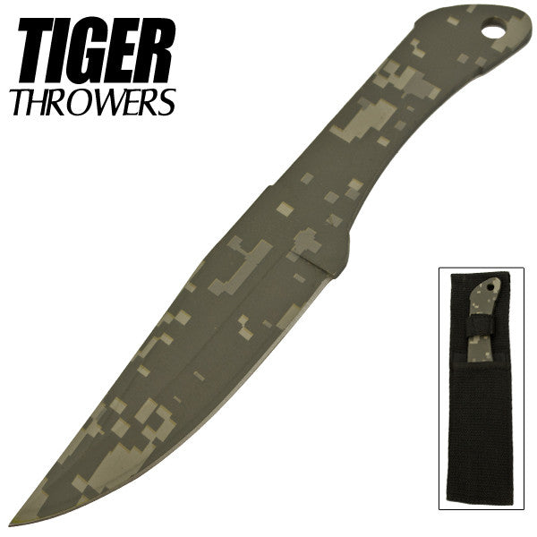 8.75 Inch Tiger Throwing Knife - Camo, , Panther Trading Company- Panther Wholesale
