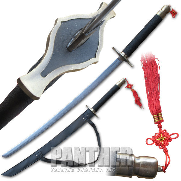 Long Slasher Katana Sword with Brass Colored Guard, , Panther Trading Company- Panther Wholesale