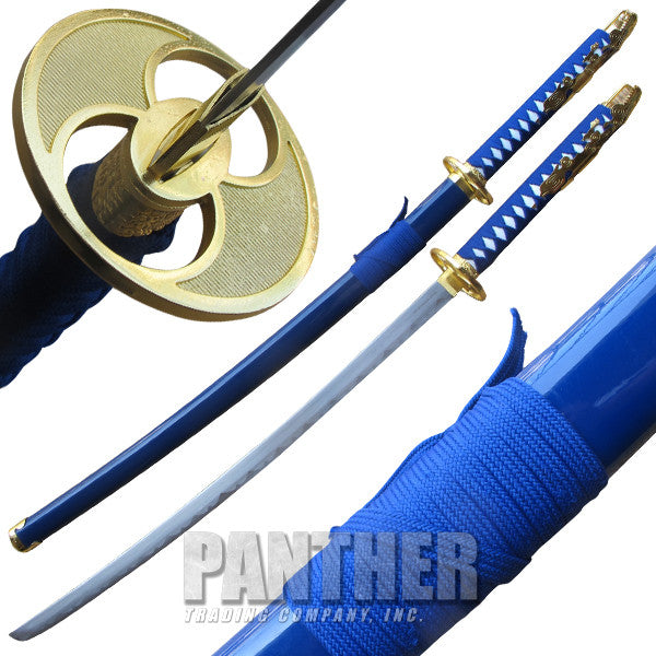 Lunar Blue Katana Sword with Gold Finish Guard, , Panther Trading Company- Panther Wholesale