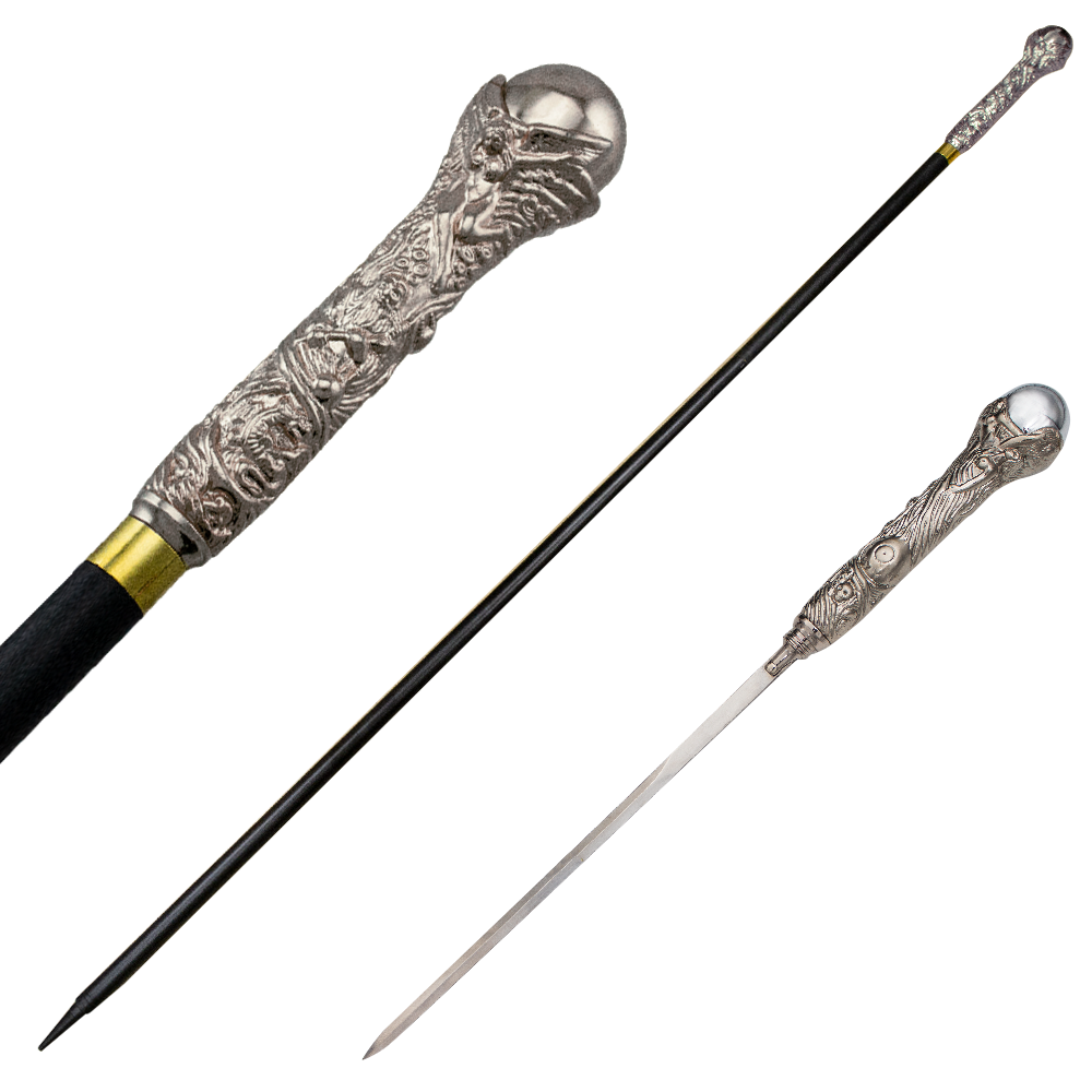 Dante's Inferno Silver Walking Cane with Hidden Sword