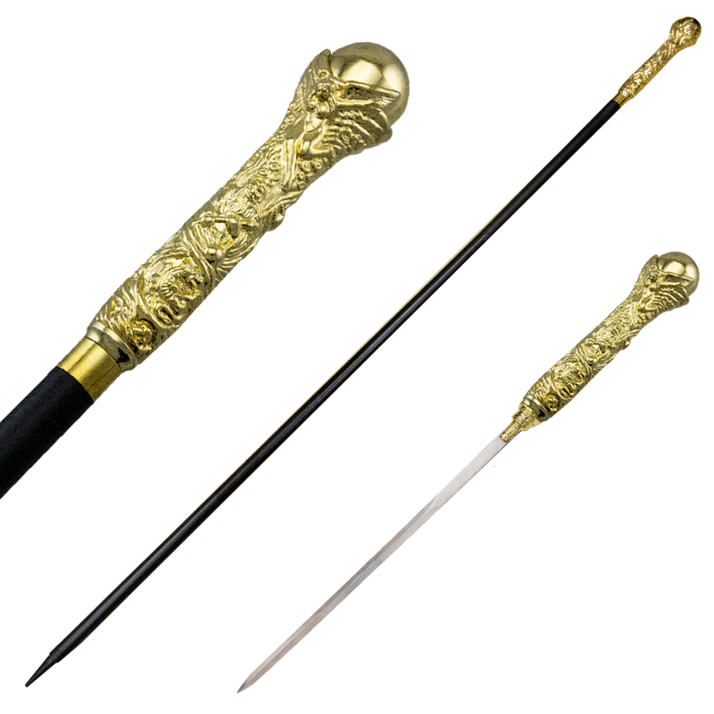 Dante's Inferno Gold Walking Cane with Hidden Sword