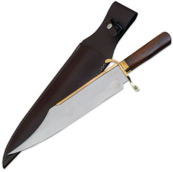 18 Inch Primitive Bowie WIth Real Brass Fittings W/Leather Case, , Panther Trading Company- Panther Wholesale