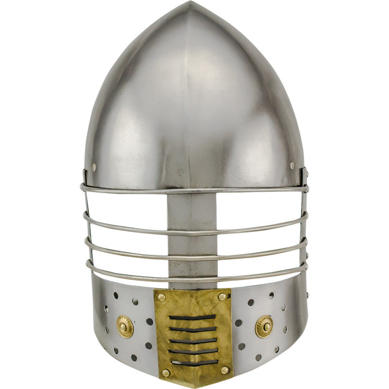 Medieval Crusader Bascinet with Wire Guard Carbon Steel Helmet, , Panther Trading Company- Panther Wholesale