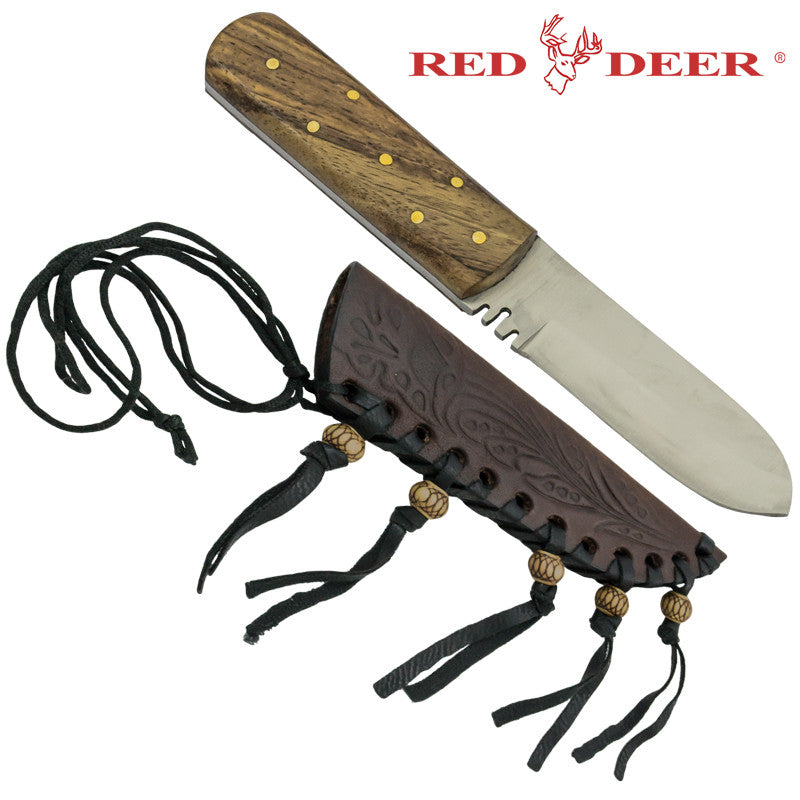 Medium Red Deer Patch Knife with Sheath, , Panther Trading Company- Panther Wholesale
