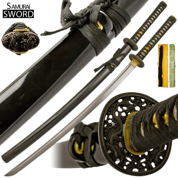 Handmade Dragon Death Katana Sword Set with Case, , Panther Trading Company- Panther Wholesale