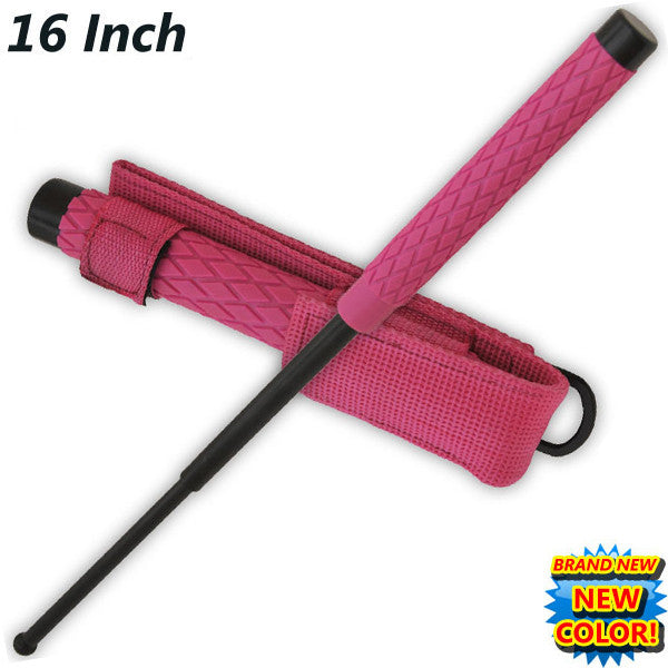16 Inch Baton public safety Solid Steel Police Stick W/Case (Pink)