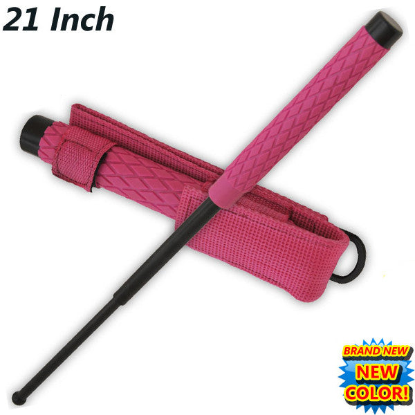 21 Inch Baton public safety Solid Steel Police Stick W/Case (Pink), , Panther Trading Company- Panther Wholesale