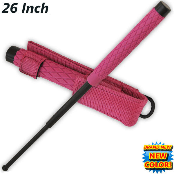 26 Inch Baton Public Safety Solid Steel Police Stick W/Case (Pink), , Panther Trading Company- Panther Wholesale