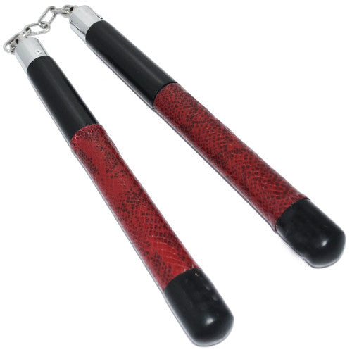 Ninja Nun Chucks Nunchaku Snake Skin Wooden with Chain, , Panther Trading Company- Panther Wholesale