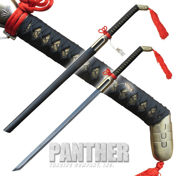 Noble Katana with Red Fabric Antique Brass Finish, , Panther Trading Company- Panther Wholesale