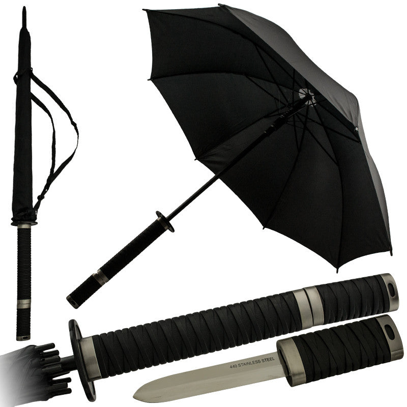 Novelty Katana Umbrella with Hidden Knife, , Panther Trading Company- Panther Wholesale