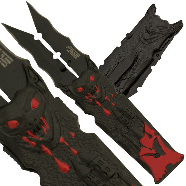 Vampire Bat Slicer Dual Blade Folding Knife - Blood