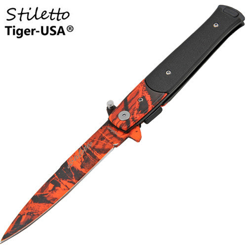7.25 Inch Godfather stiletto style Style Folding Knife w/ Clip, , Panther Trading Company- Panther Wholesale