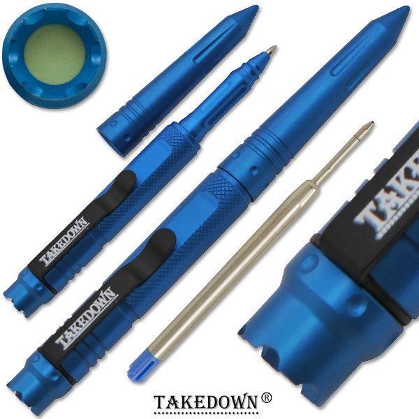 6 Inch TAKEDOWN Tactical Pen w/ Clip- Metallic Blue Finish, , Panther Trading Company- Panther Wholesale