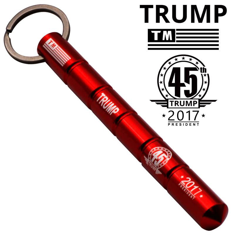 Trump 45th Public Safety Solid Steel Keychain Kubotan (Red), , Panther Trading Company- Panther Wholesale