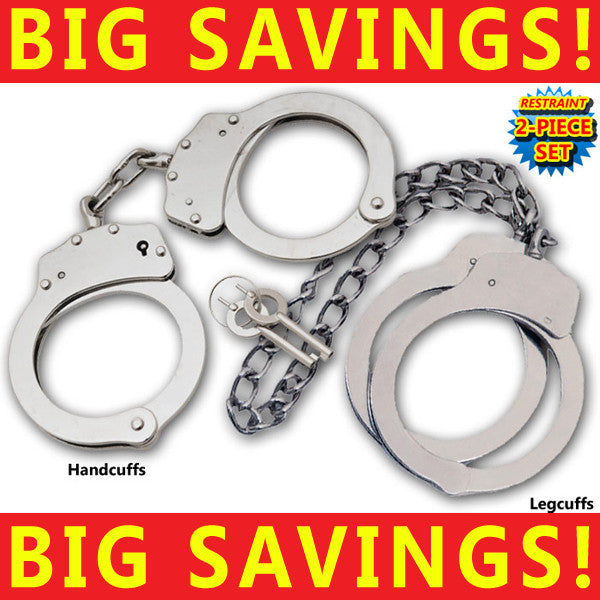 Stainless Steel Professional Grade Handcuffs & Nickel Plated Leg Cuffs (Silver)