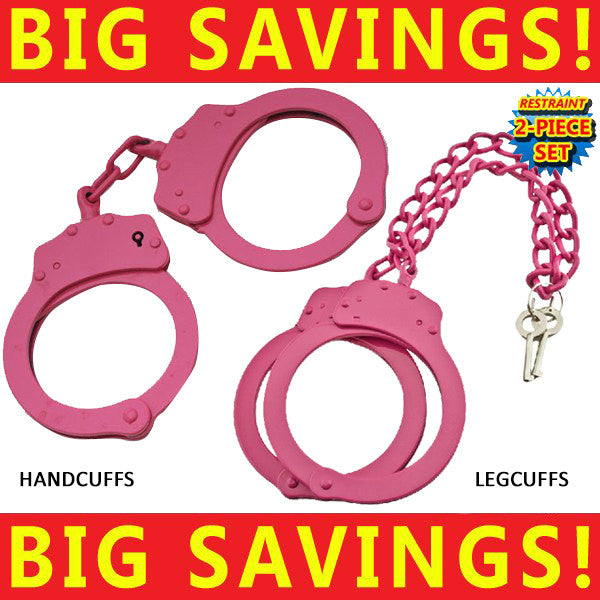 Stainless Steel Professional Handcuffs & Nickel Plated Leg Cuffs (Pink/Black)