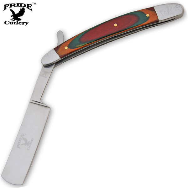 9 Inch Pride Cutlery Straight Razor - Multicolored Wood, , Panther Trading Company- Panther Wholesale