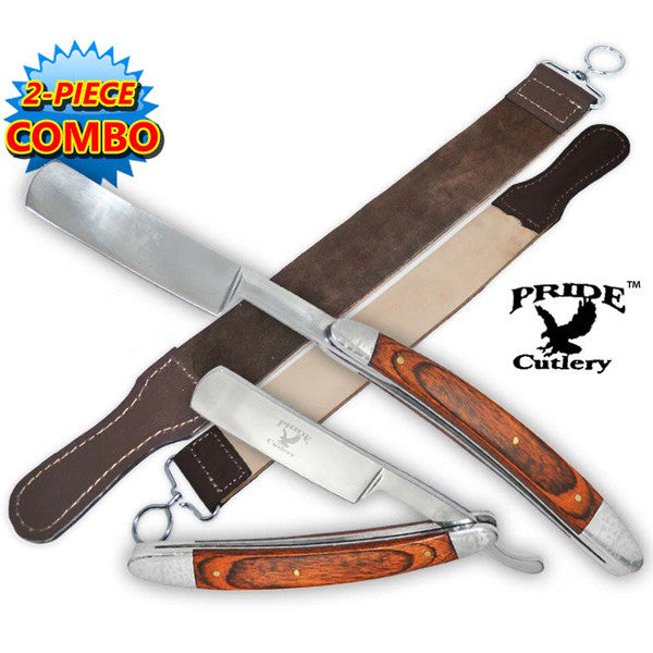 Pride Cutlery Straight Razor & Leather Strop (2-Piece Set) - P-20701, , Panther Trading Company- Panther Wholesale
