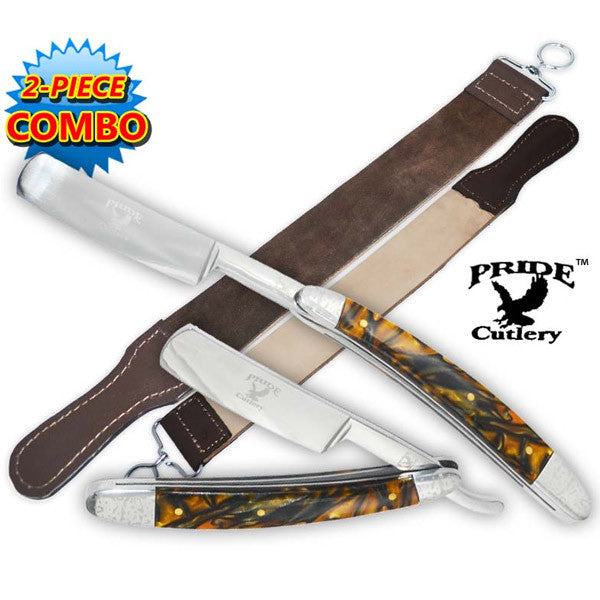 Pride Cutlery Straight Razor & Leather Strop (2-Piece Set) - P-20707, , Panther Trading Company- Panther Wholesale