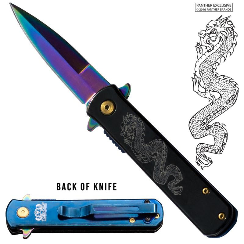 Tiger USA® Folding knife w/clip (Rainbow & Black Color) Dragon, , Panther Trading Company- Panther Wholesale