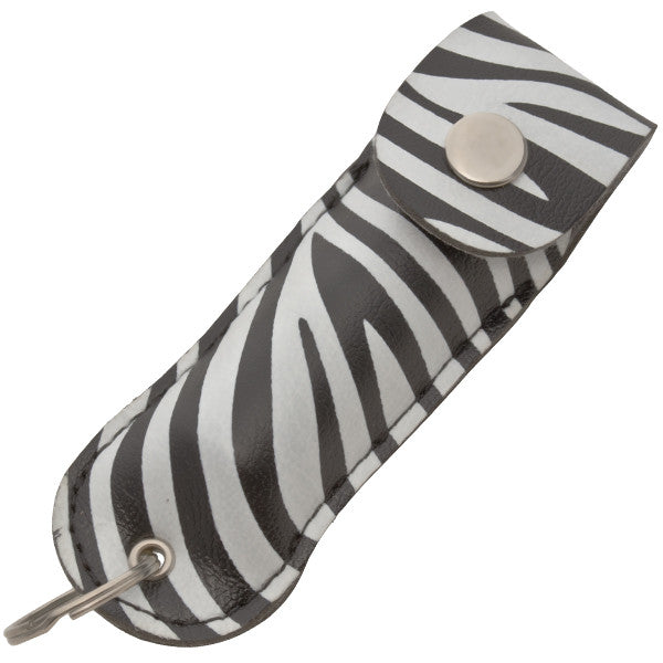 Half Oz Police Strength Pepper Spray- Zebra Leather Pouch Keychain