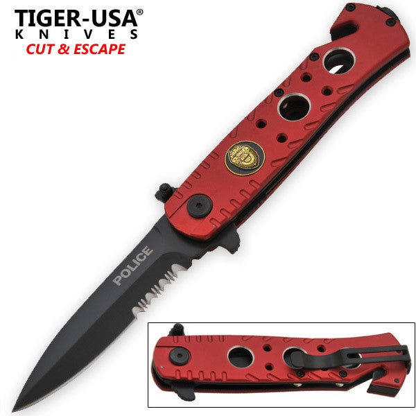 9 Inch Red Police Tactical Trigger Action Folding Knife, , Panther Trading Company- Panther Wholesale