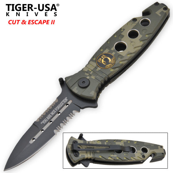 9 Inch Digital Camo POW Tactical Trigger Action Folding Knife, , Panther Trading Company- Panther Wholesale