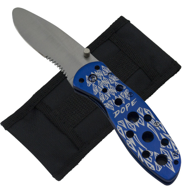 Dope Shredder Trigger Action Knife - Blue, , Panther Trading Company- Panther Wholesale