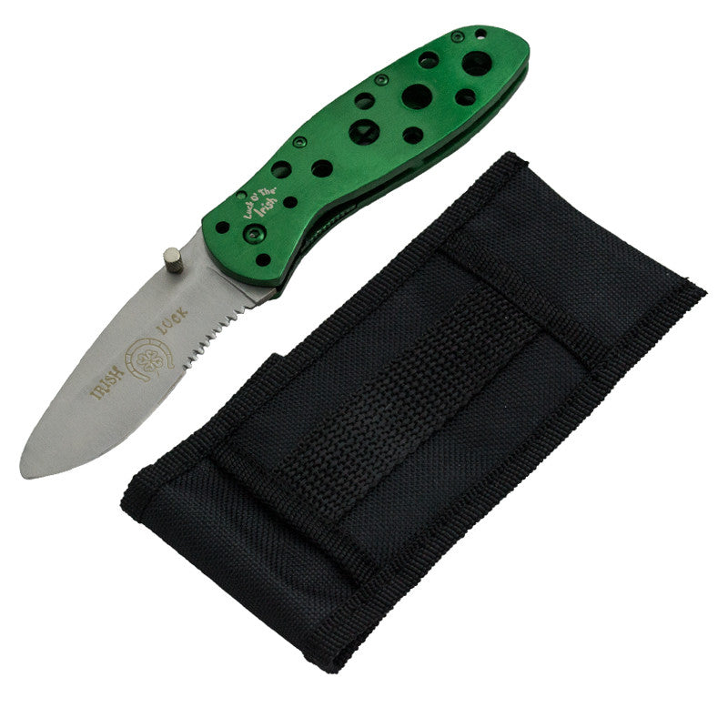 Luck O' The Irish Trigger Action Knife  Green, , Panther Trading Company- Panther Wholesale