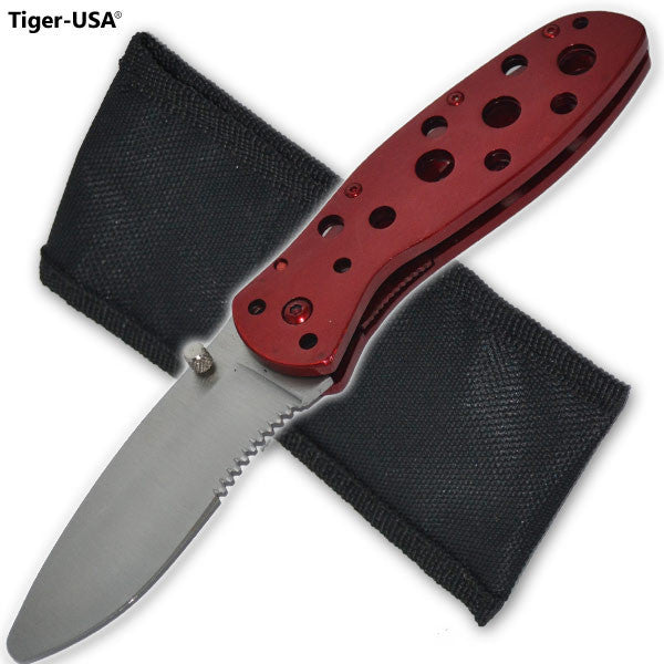 7.5 Inch Shredder Trigger Action Knife  Red, , Panther Trading Company- Panther Wholesale