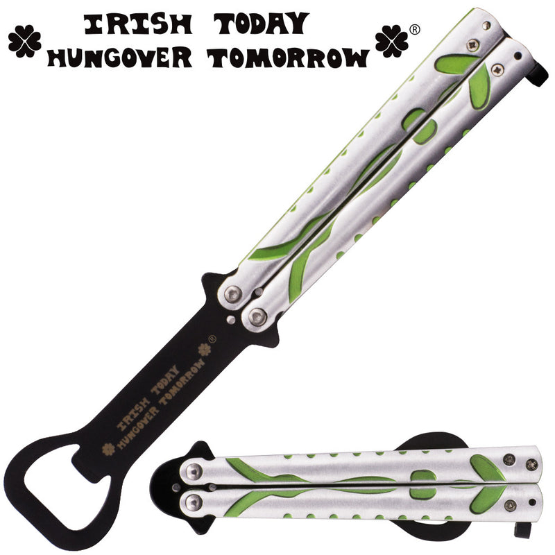 Irish Today Hungover Tomorrow 8.5 Inch Bartender Butterfly Folder (Silver, Black, Green) - Panther Wholesale