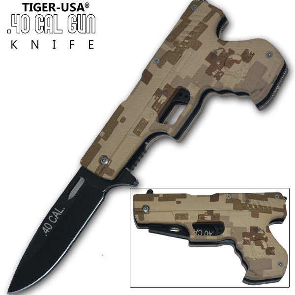 8.75 Inch Trigger Action .40 Cal. Pistol Knife - Camo 2, , Panther Trading Company- Panther Wholesale