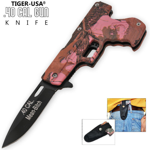 8 Inch Trigger Action .40 Cal. Pistol Knife - Camo 8 (Mean Bitch)-W/ Sheath, , Panther Trading Company- Panther Wholesale