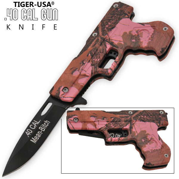 8 Inch Trigger Action .40 Cal. Pistol Knife - Camo 8 (Mean Bitch) - Panther Wholesale