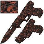 .40 Cal Trigger Action Knife - Orange Camo Skull